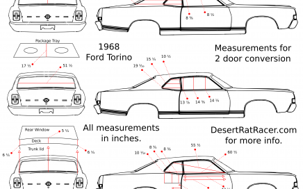 1968 ford torino measurements for 2 door conversions